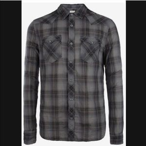 All Saints Grey Rawlins Long Sleeve Shirt